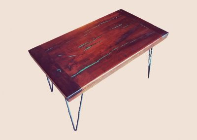 Turquoise Coffee Table with Hairpin Legs | Mesquite Mesa Furnishings