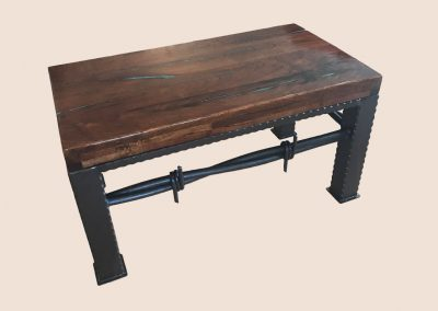 Turquoise Coffee Table with Barbed Wire Base | Mesquite Mesa Furnishings